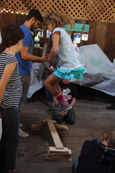 Sophia Jumps to Break Some Wood